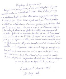 Lettre CM2 janvier 2015